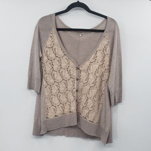 Knitted and knotted lace button down cardigan